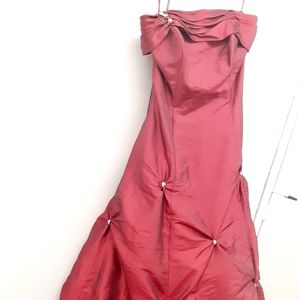 ♥️Fuschia pink red strapless ball gown Prom 8